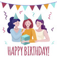 happy birthday card concept young women vector image vector image