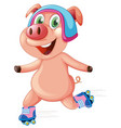 happy pig playing roller skate vector image vector image