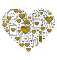 heart shape with love elements in gold heart vector image vector image