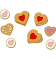 heart shapes sweet cakes vector image