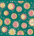 human viruses seamless pattern in colored line vector image vector image