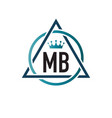 initial letter mb circle triangle logo design vector image vector image