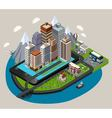 Isometric Mobile City Concept vector image vector image