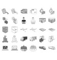 logistics and delivery monochromeoutline icons in vector image vector image
