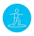 Male surfer riding on surfboard line icon vector image vector image