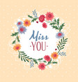 miss you gift card vector image