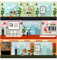 office interior flat poster set vector image vector image