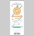 orange juice label in trendy linear style vector image