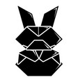 origami bunny icon simple black style vector image vector image