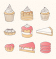 pastry collection of cakes pies tarts muffins vector image vector image