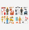 professions set fireman policeman road worker vector image