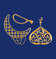 ramadan kareem poster crescent dome topped moon vector image