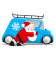 Santa pushing a blue mini car vector image