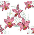 seamless pattern of pink orchids vector image