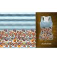 seamless pattern seashells on striped vector image