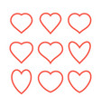 set of various red heart icons vector image