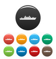 ship military icons set color vector image vector image