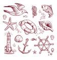 sketch marine set sea ocean voyage lighthouse vector image vector image