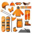 snowboarding equipment icon set cartoon style vector image