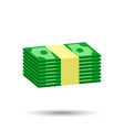stacks of cash in flat design on white background vector image vector image