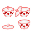 Sugar bowl with red hearts part of porcelain vector image