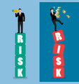 two businessman standing on risk blocks vector image vector image