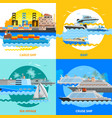 water transport 2x2 flat design concept set vector image