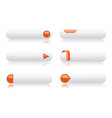 white buttons with orange signs menu interface vector image vector image