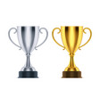winner golden trophy and 3d silver runner-up cup vector image vector image