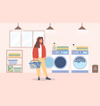young woman washes clothes in laundry room vector image