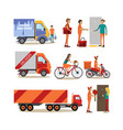 flat icons set of food delivery people vector image