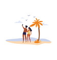 a young happy multiracial couple takes a selfie vector image