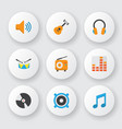 audio icons flat style set with guitar percussion vector image vector image