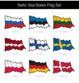 baltic sea states waving flag set vector image vector image
