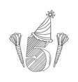birthday candle number in black and white vector image