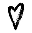 black hand drawn heart on white background vector image