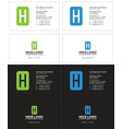 business card with the letter h rectangle vector image vector image