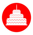cake with candle sign white icon in red vector image