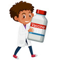 cartoon character a doctor holding a covid-19 vector image vector image