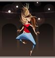 cartoon girl modern dancer jumping in pirouette vector image