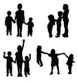 children holding hands silhouette vector image vector image