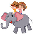 children riding elephant on white background vector image vector image