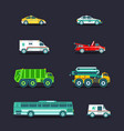 city transport set in flat styletown vector image vector image