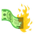 dollar in fire icon isometric style vector image