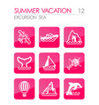 excursion sea icon set summer vacation vector image