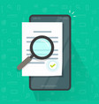 expertise document inspection via mobile phone vector image vector image