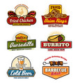 fast food restaurant or bistro icons vector image vector image