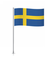 Flag of Sweden waving on a metallic pole vector image vector image