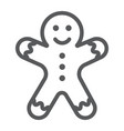 gingerbread man line icon christmas and sweet vector image vector image