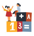 girls playing cubes with maths numbers and letters vector image